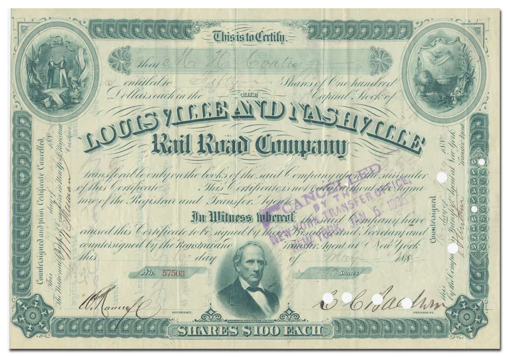 Louisville and Nashville Rail Road Company Stock Certificate