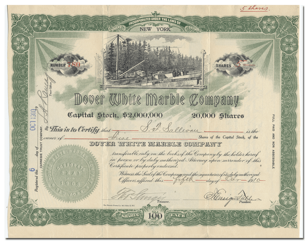 Dover White Marble Company Stock Certificate