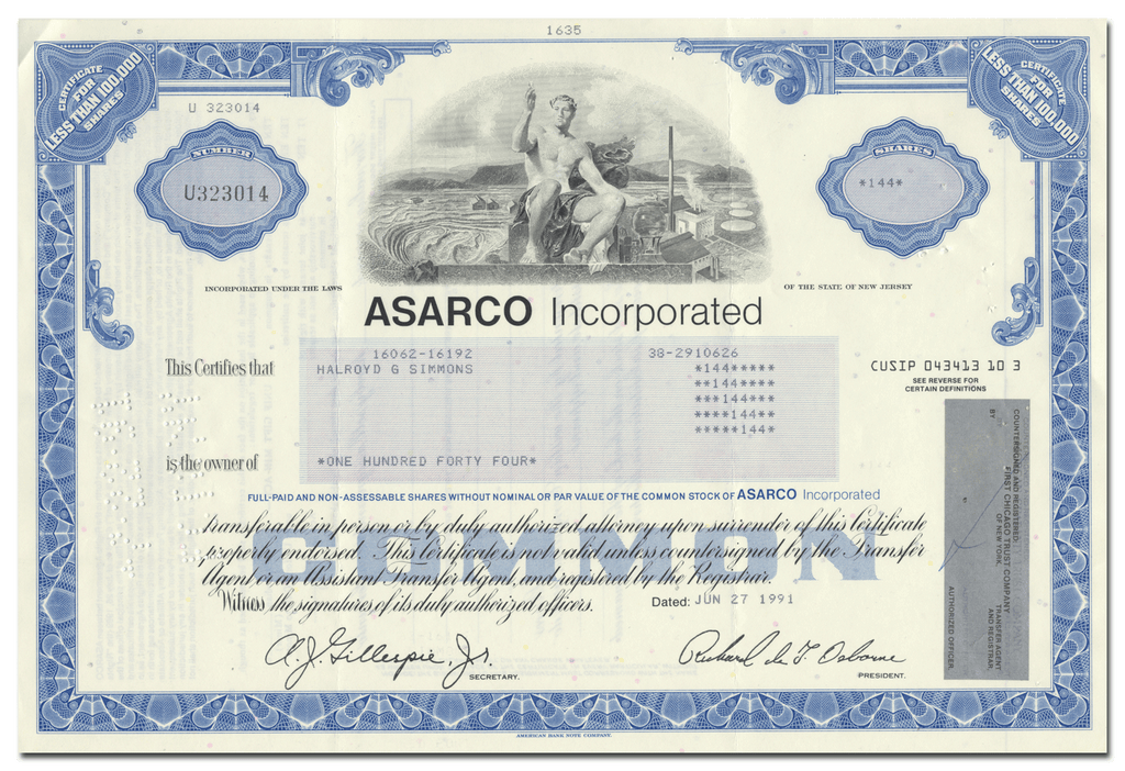 ASARCO (American Smelting and Refining Company) Incorporated Stock Certificate