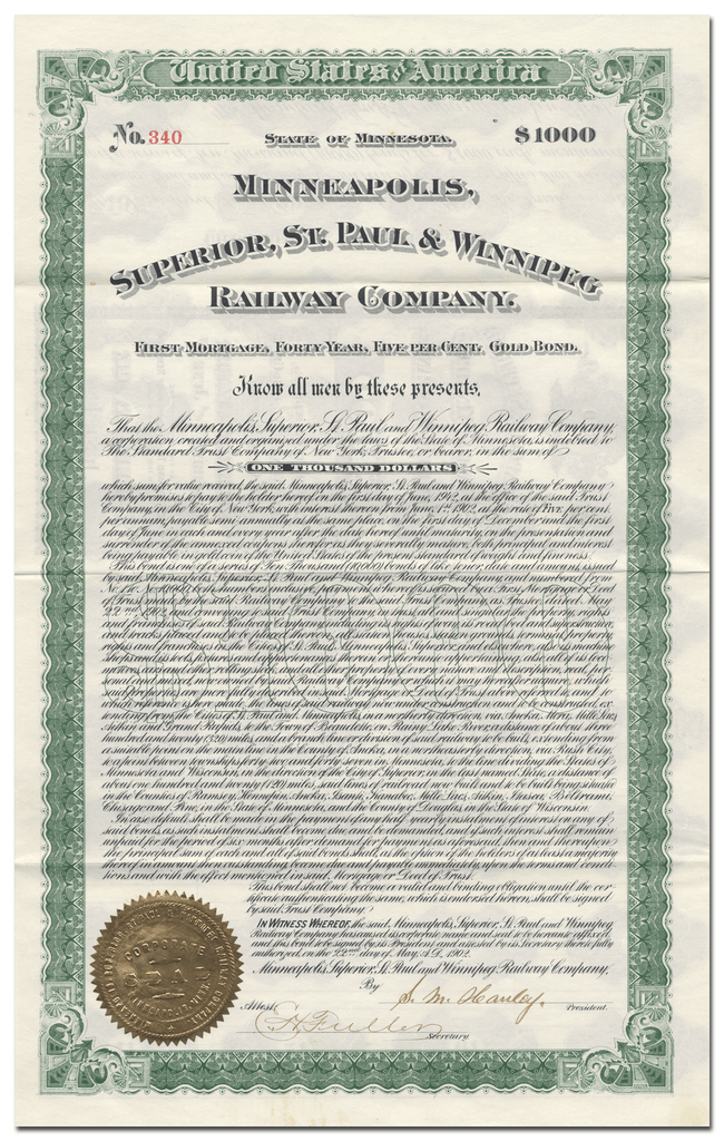 Minneapolis, Superior, St. Paul & Winnipeg Railway Company Bond Certificate