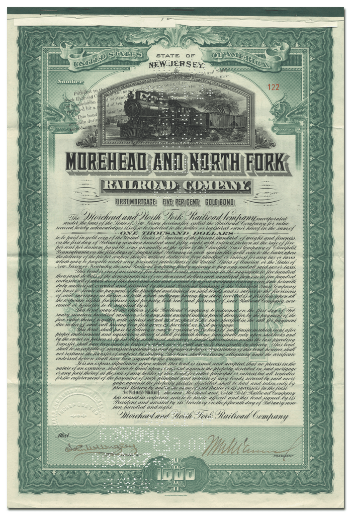 Morehead and North Fork Railroad Company Bond Certificate