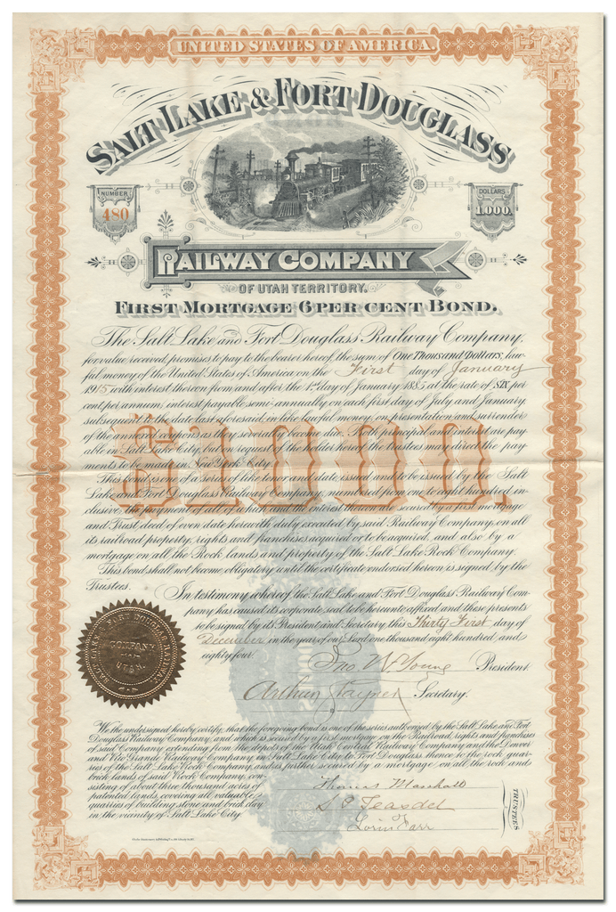 Salt Lake & Fort Douglass Railway Company Bond Certificate Signed by John W. Young