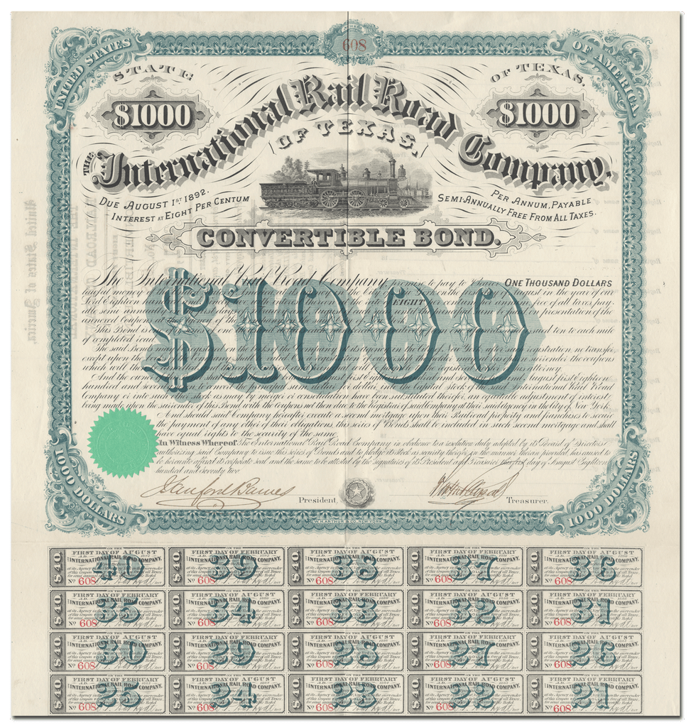 International Rail Road Company of Texas Bond Certificate