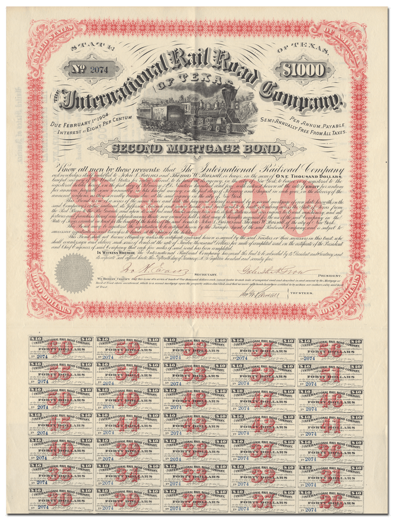 International Rail Road Company of Texas Bond Certificate Signed by Galusha Grow