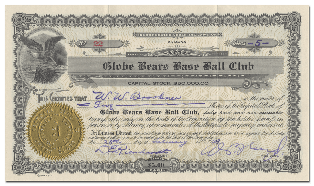 Globe Bears Base Ball Club Stock Certificate