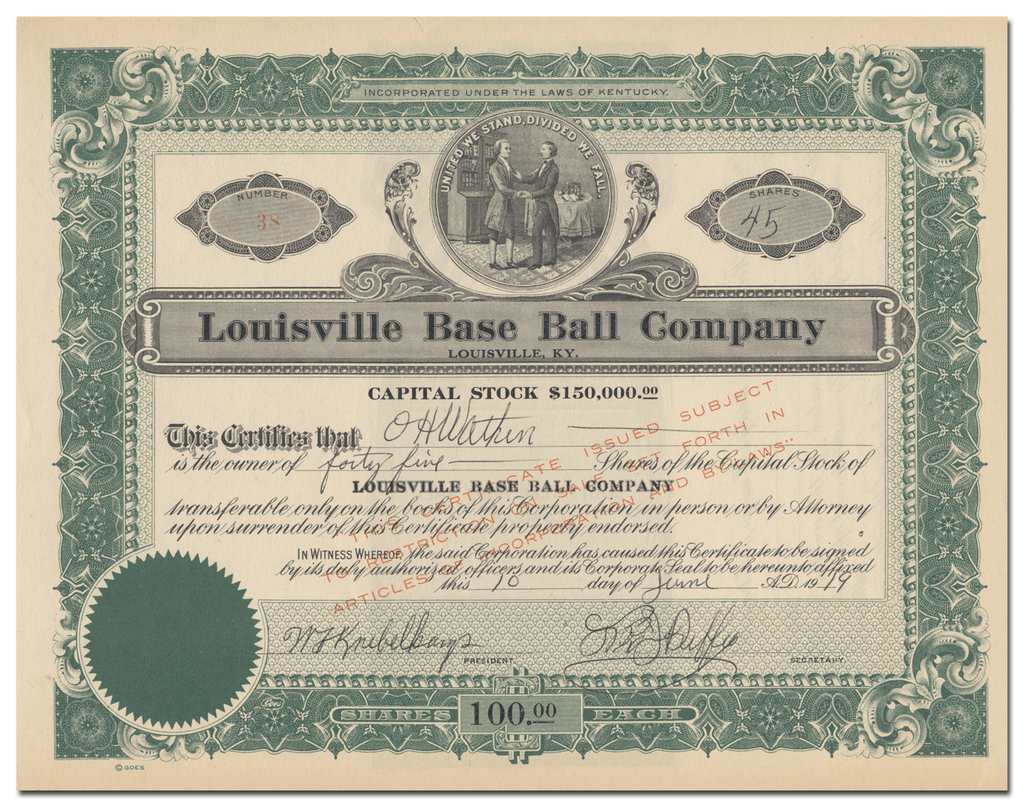 Louisville Base Ball Company Stock Certificate