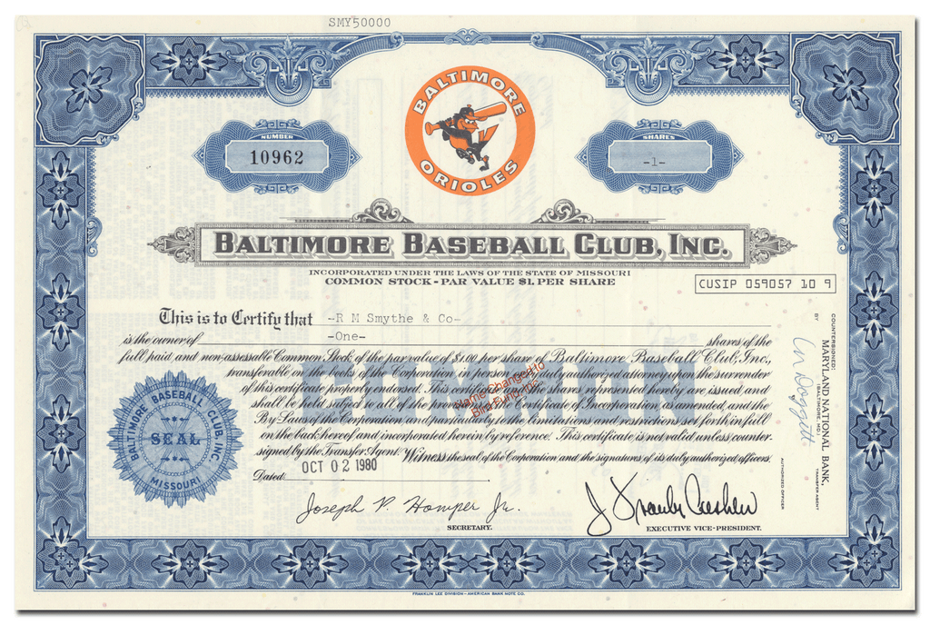 Baltimore Baseball Club, Inc. Stock Certificate
