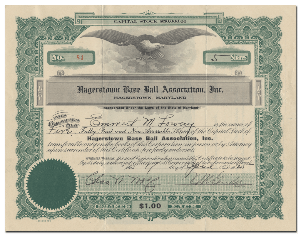 Hagerstown Base Ball Association, Inc. Stock Certificate