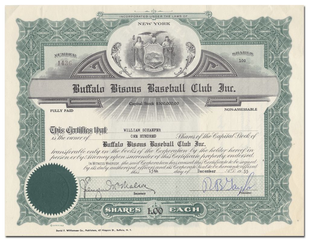 Buffalo Bisons Baseball Club Inc. Stock Certificate
