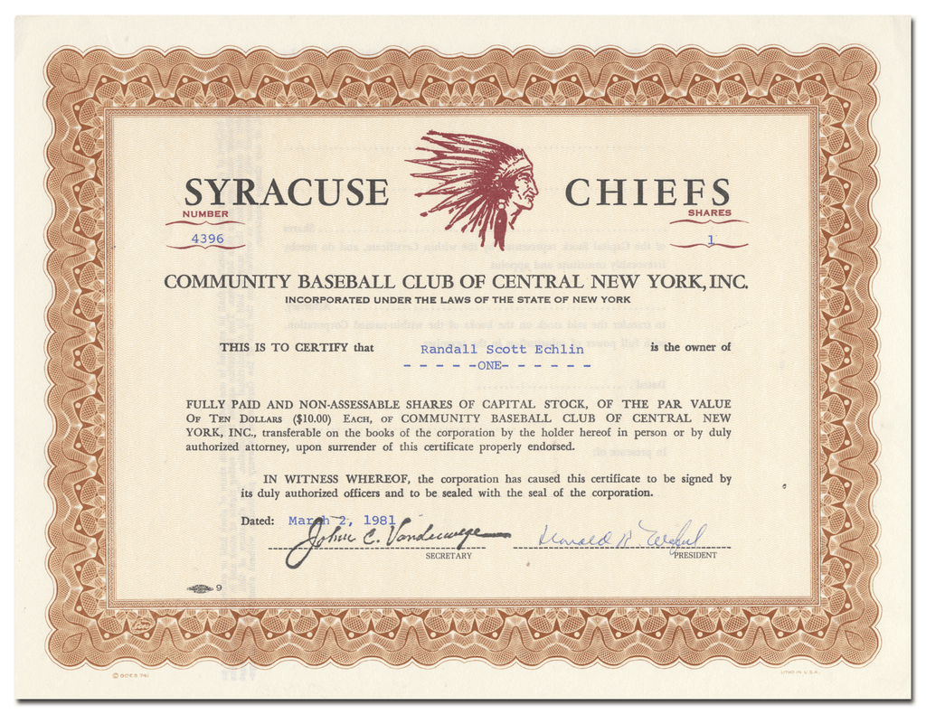 Community Baseball Club of Central New York, Inc. Stock Certificate