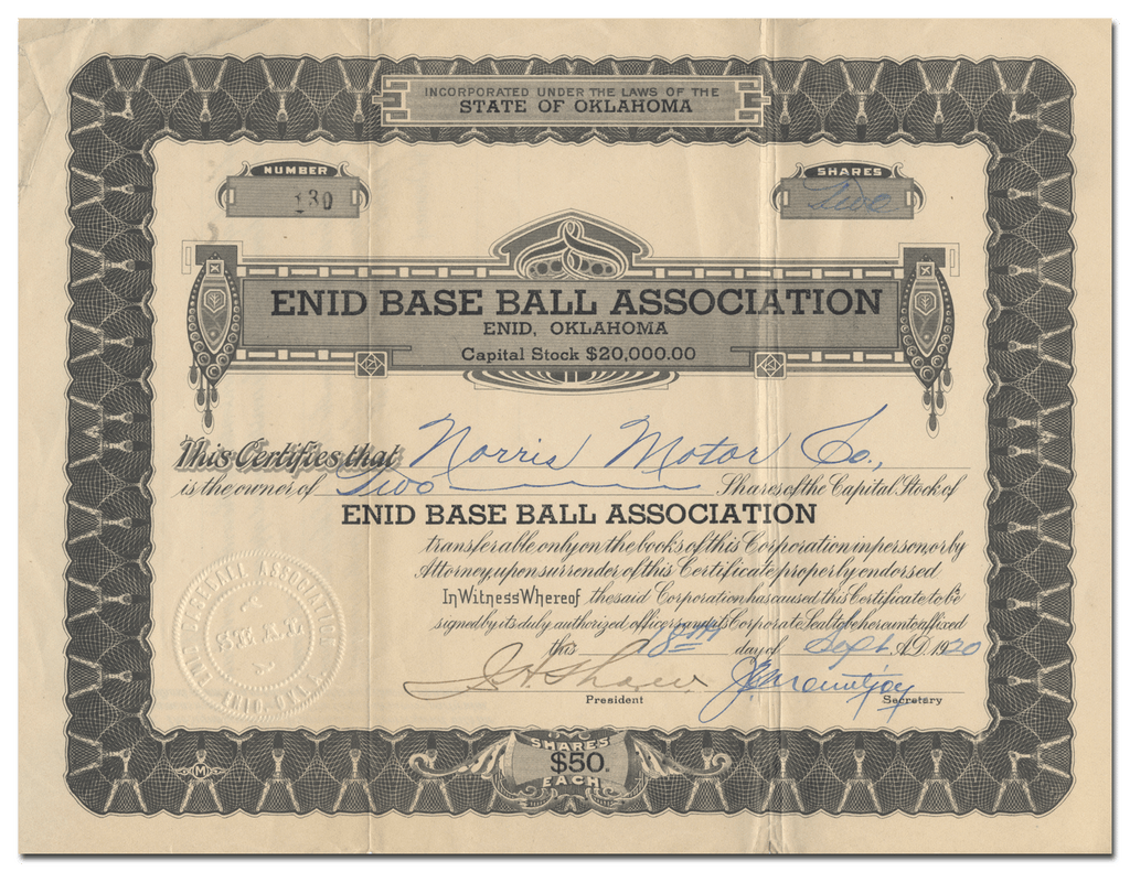Enid Base Ball Association Stock Certificate