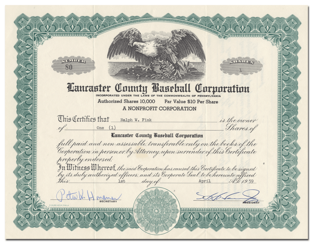 Lancaster County Baseball Corporation Stock Certificate