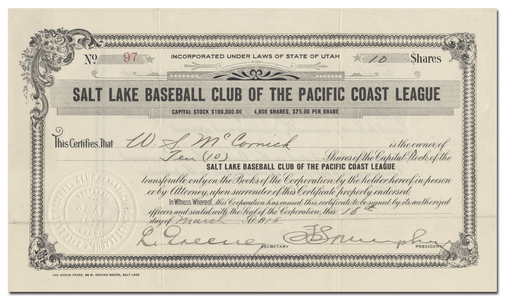 Salt Lake Baseball Club of the Pacific Coast League