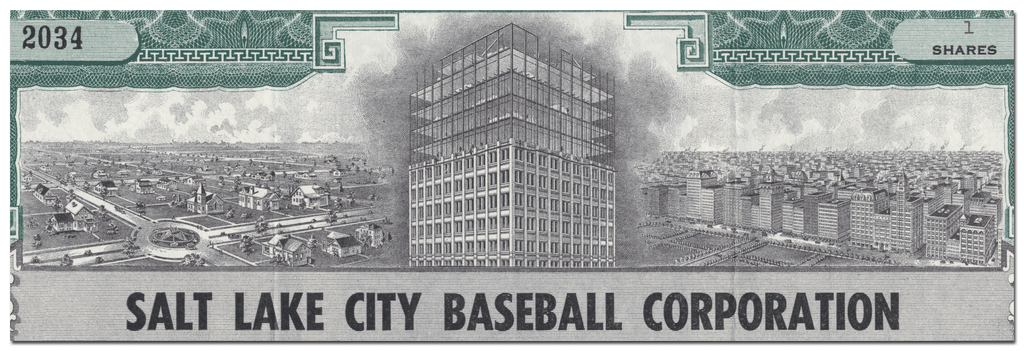 Salt Lake City Baseball Corporation Stock Certificate