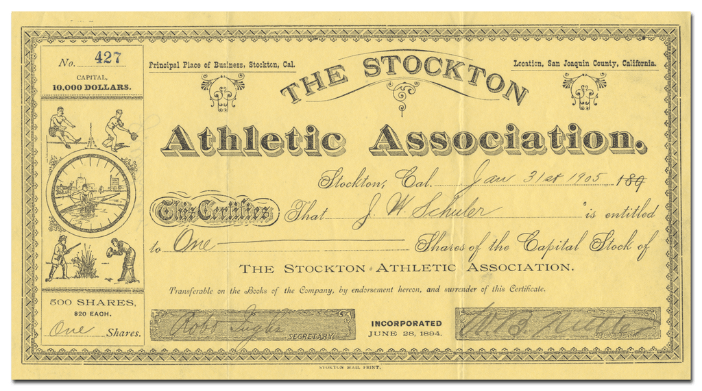Stockton Athletic Association Stock Certificate