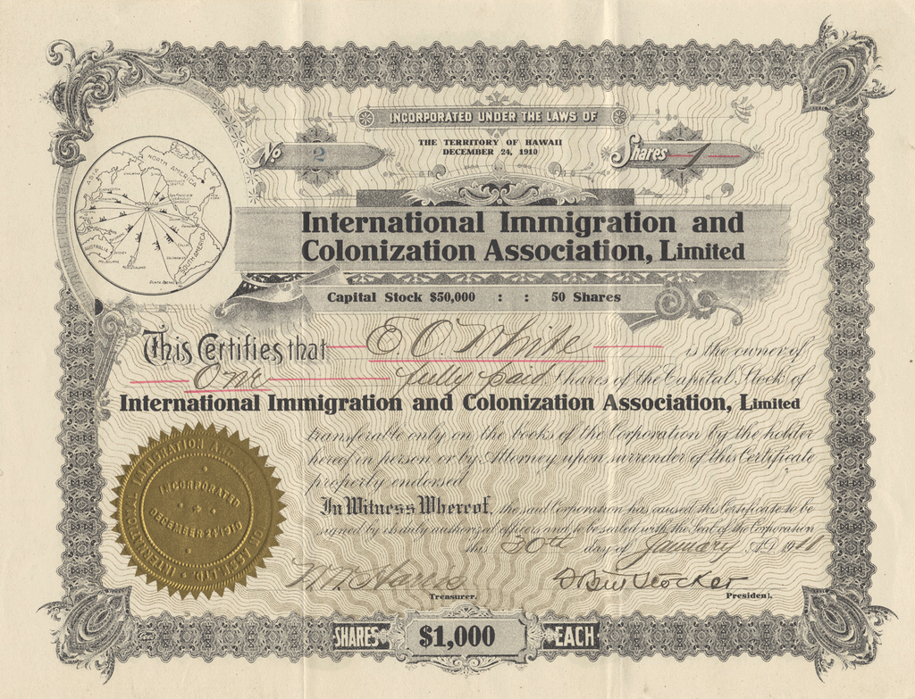 International Immigration and Colonization Association, Limited Stock Certificate (Certificate #1)