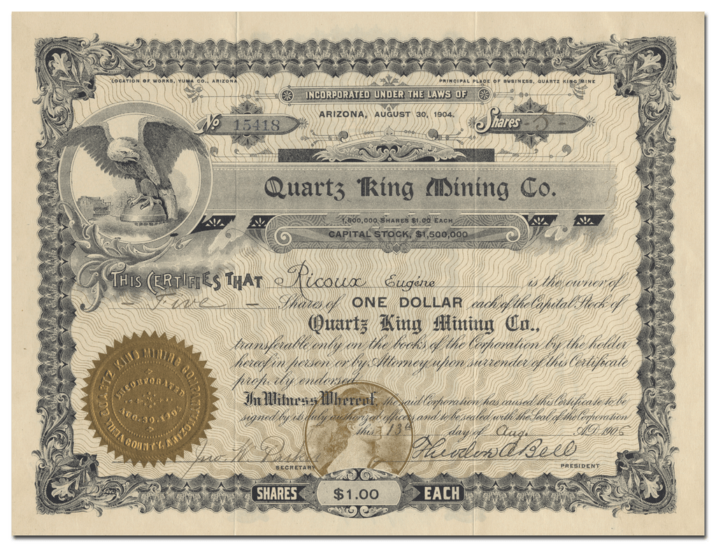 Quartz King Mining Co. Stock Certificate