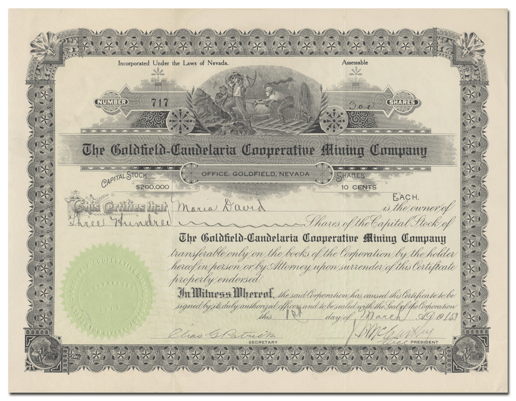 Goldfield-Candelaria Cooperative Mining Company Stock Certificate