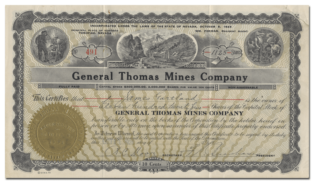 General Thomas Mines Company Stock Certificate