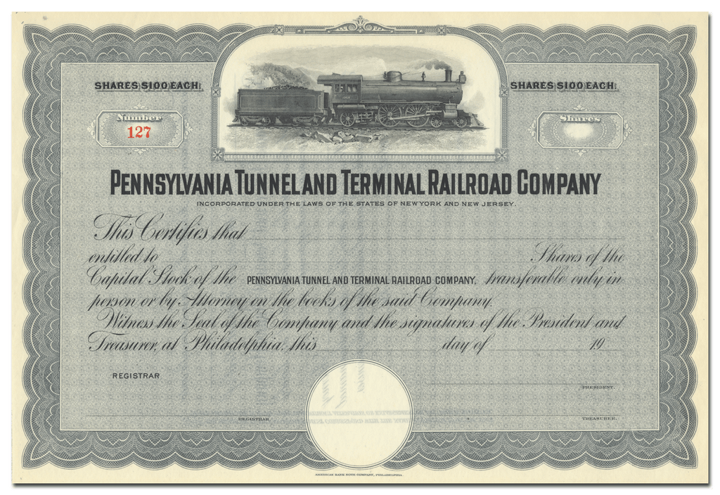 Pennsylvania Tunnel and Terminal Railroad Company Stock Certificate