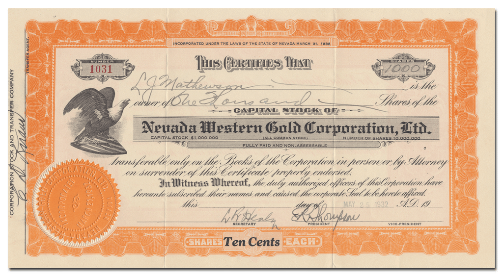 Nevada Western Gold Corporation, Ltd. Stock Certificate