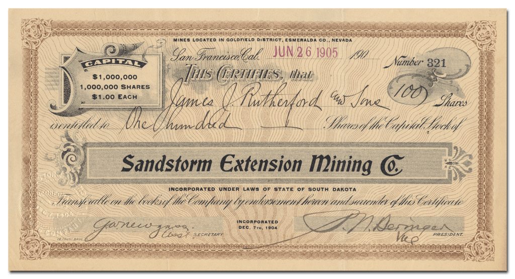 Sandstorm Extension Mining Co. Stock Certificate