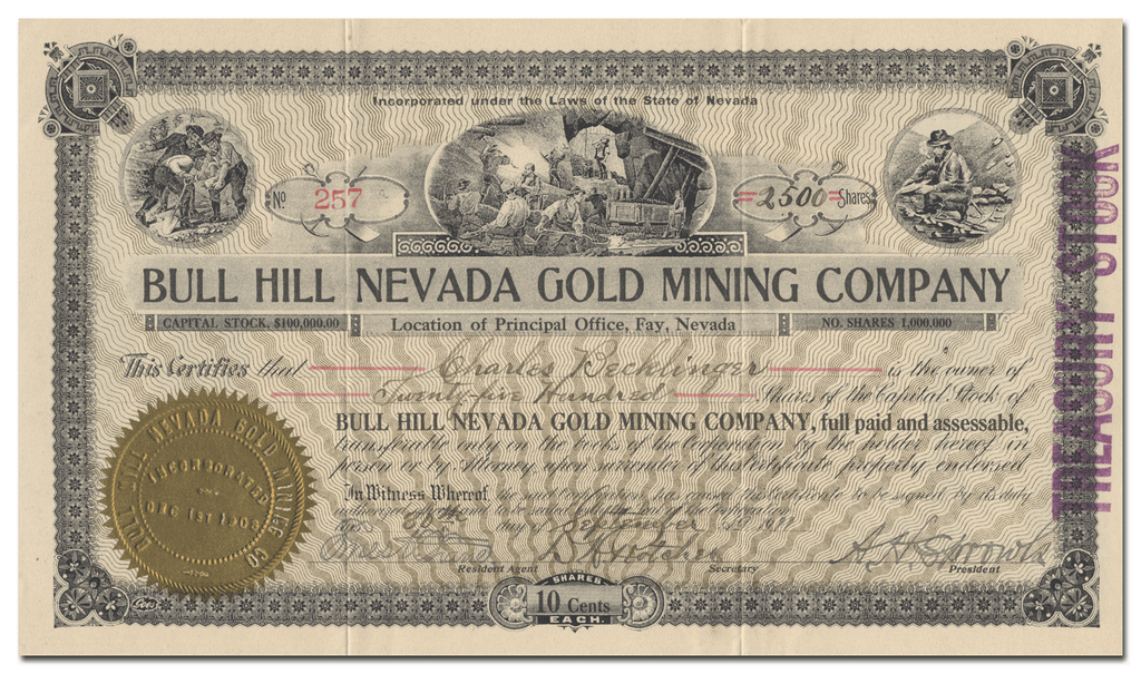 Blue Hill Nevada Gold Mining Company Stock Certificate