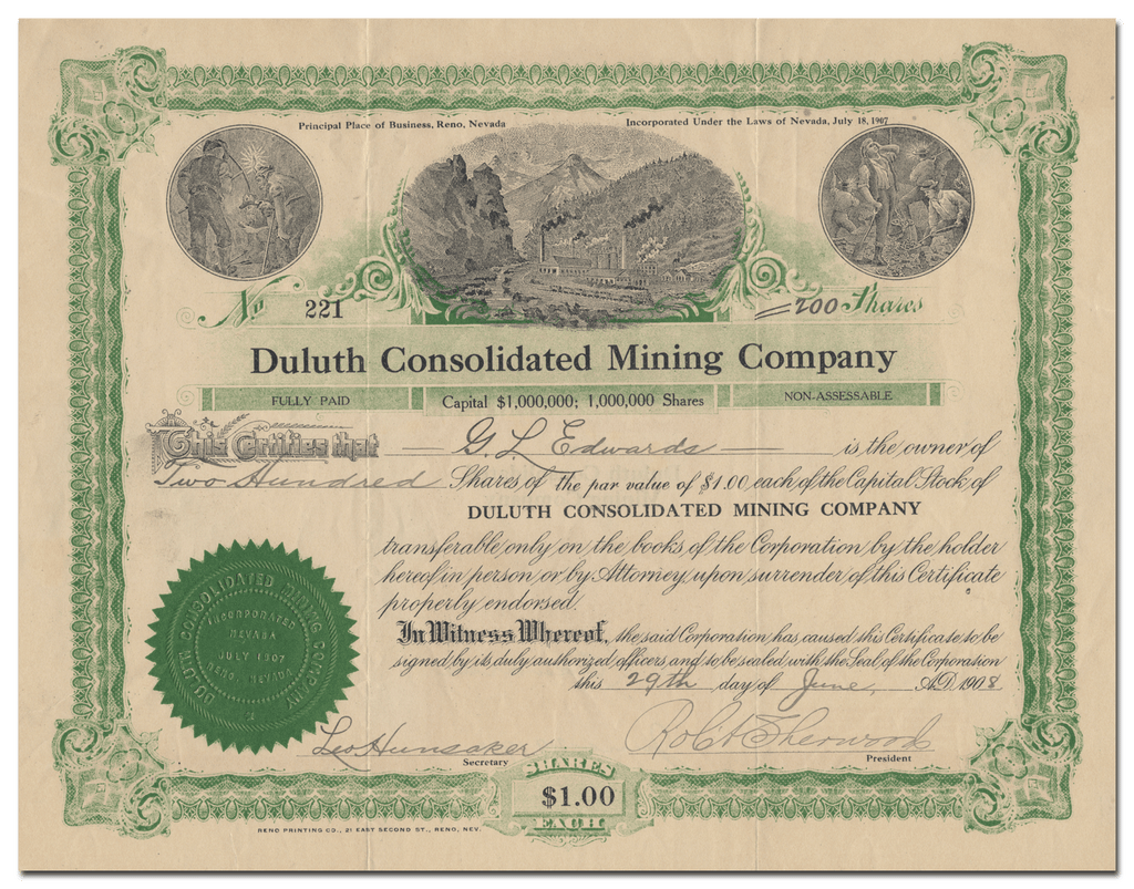 Duluth Consolidated Mining Company Stock Certificate