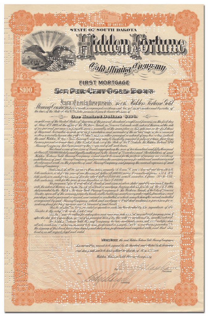 Hidden Fortune Gold Mining Company Bond Certificate