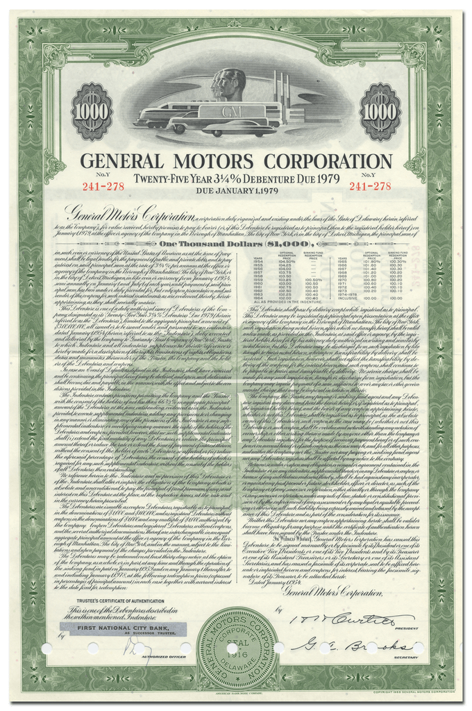 General Motors Corporation Bond Certificate