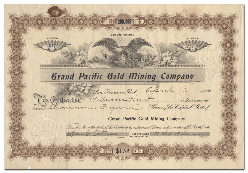 Grand Pacific Gold Mining Company Stock Certificate