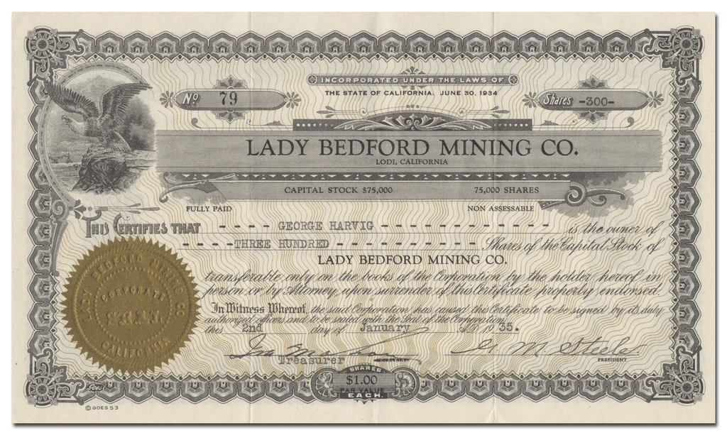 Lady Bedford Mining Co. Stock Certificate