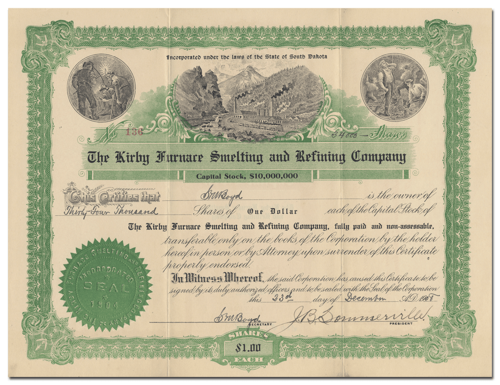 Kirby Furnace Smelting and Refining Company Stock Certificate