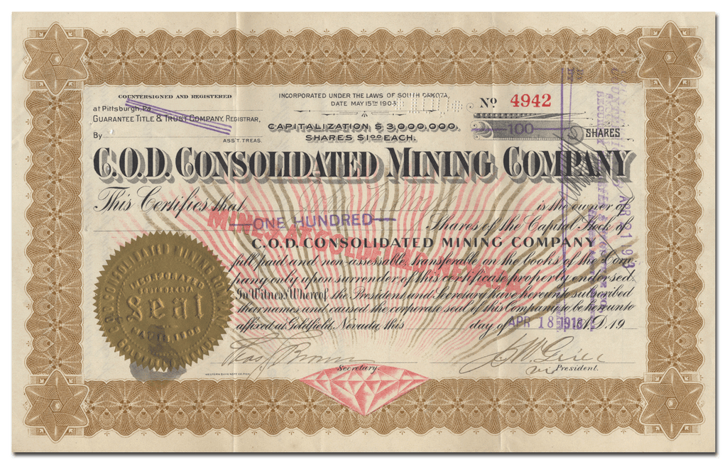 C. O. D. Consolidated Mining Company Stock Certificate