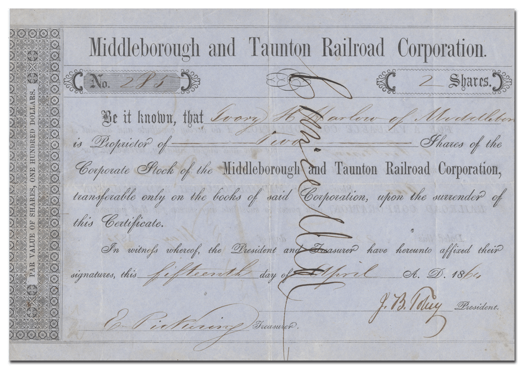 Middleborough and Taunton Railroad Corporation Stock Certificate