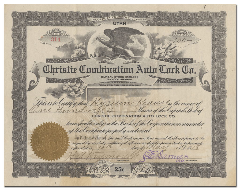 Christie Combination Auto Lock Co. Stock Certificate