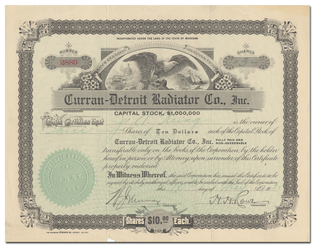 Curran-Detroit Radiator Co., Inc. Stock Certificate