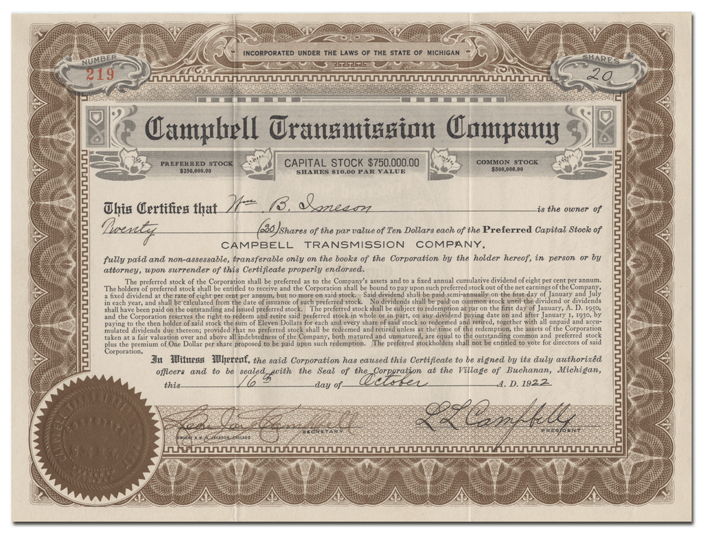 Campbell Transmission Company Stock Certificate