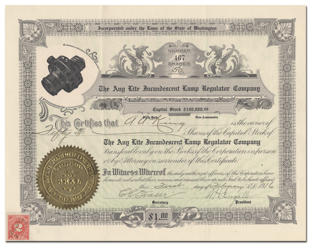 Any Lite Incandescent Lamp Regulator Company Stock Certificate