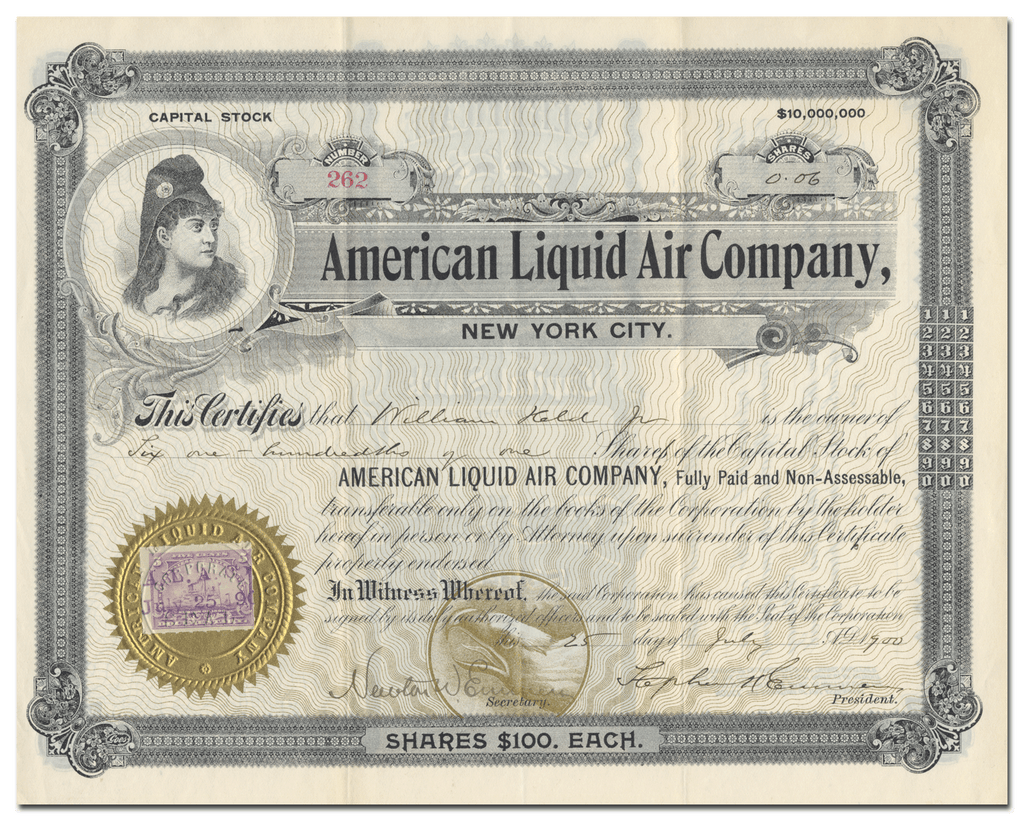 American Liquid Air Company Stock Certificate