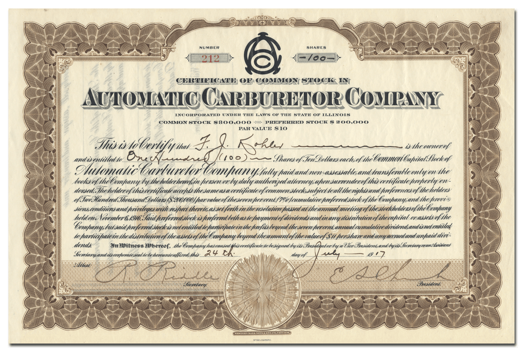 Automatic Carburetor Company Stock Certificate