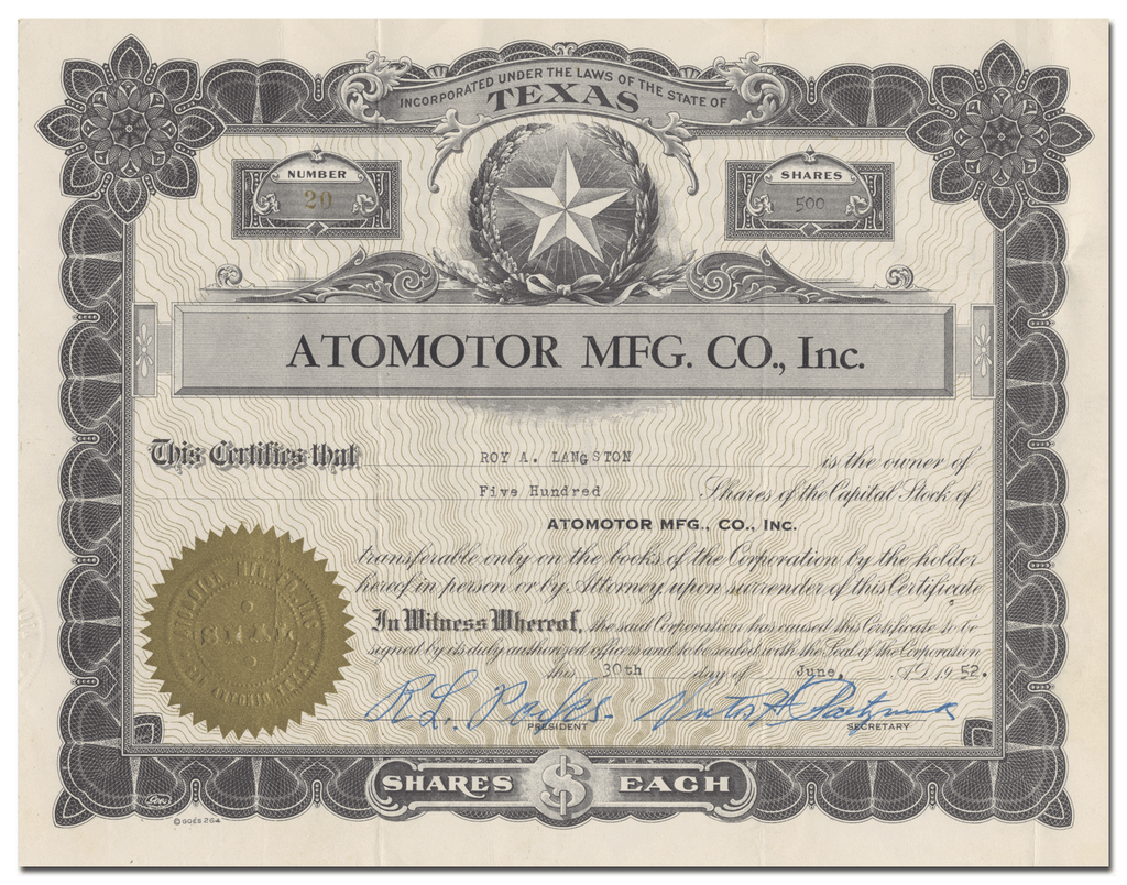 Atomotor Mfg. Co., Inc. Stock Certificate