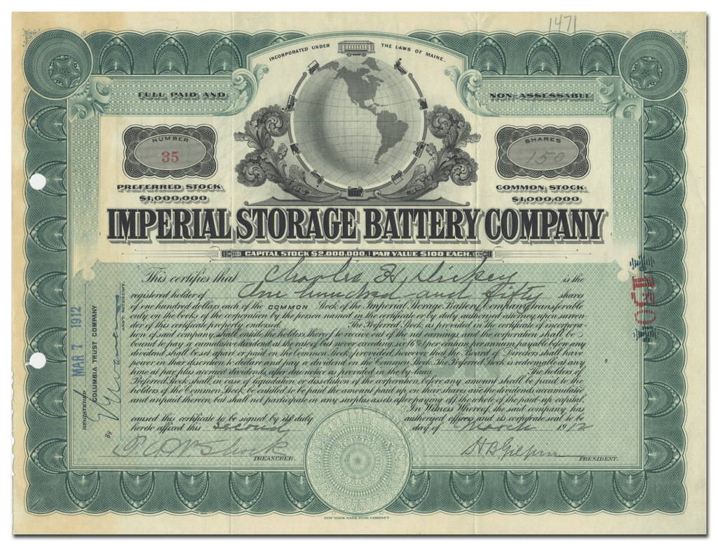 Imperial Storage Battery Company Stock Certificate