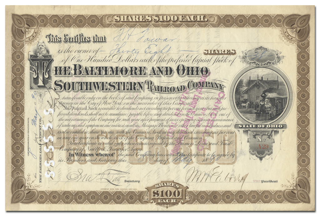 Baltimore and Ohio Southwestern Railway Company Stock Certificate