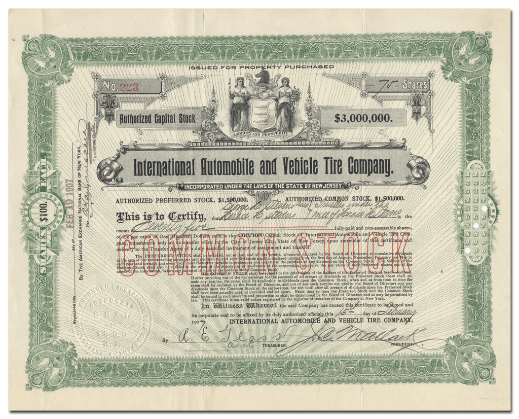 International Automobile and Vehicle Tire Company Stock Certificate