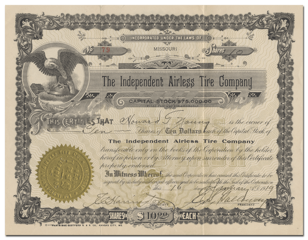 Independent Airless Tire Company Stock Certificate