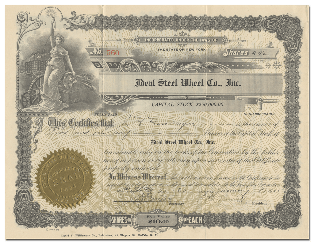 Ideal Steel Wheel Co., Inc. Stock Certificate