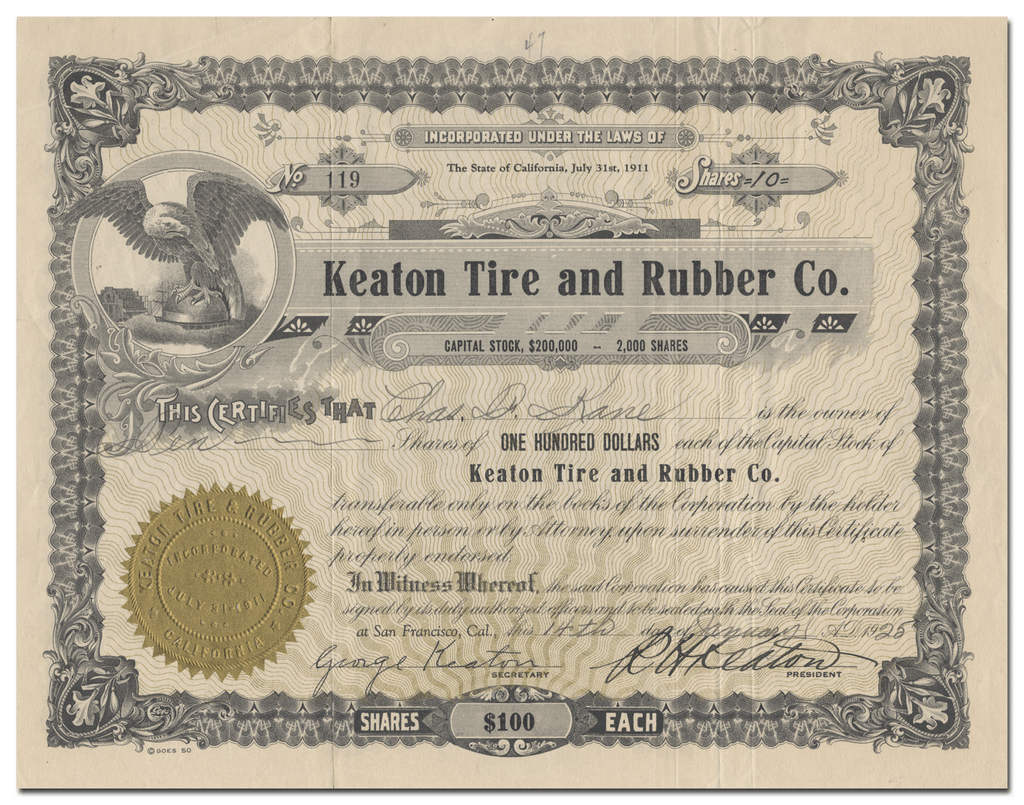 Keaton Tire and Rubber Co. Stock Certificate