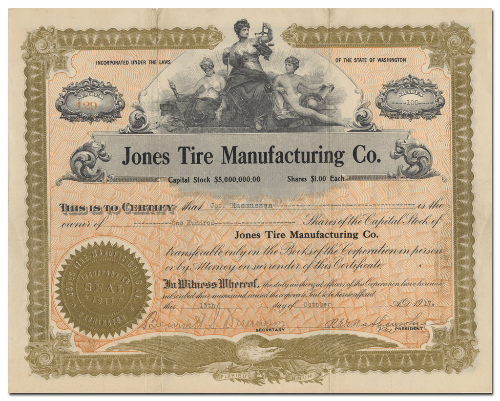 Jones Tire Manufacturing Co. Stock Certificate