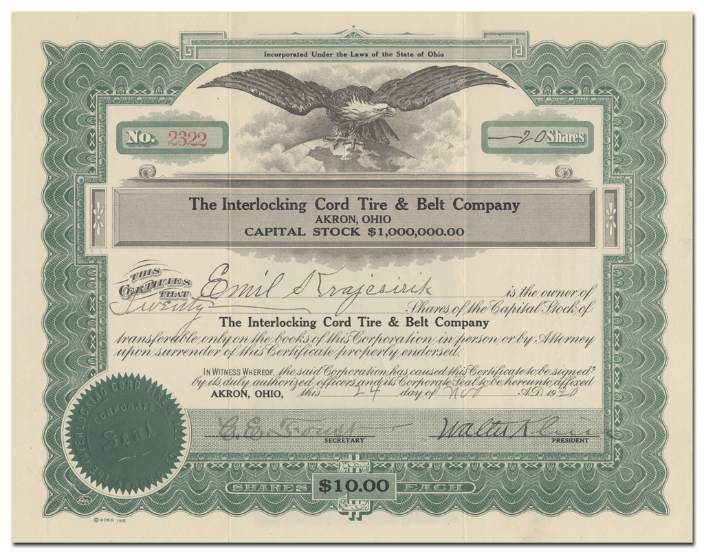 Interlocking Cord Tire & Belt Company Stock Certificate
